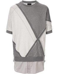 3.1 Phillip Lim Felpa con design patchwork - Grigio