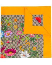 Gucci Flora Print Silk Scarf - Multicolour