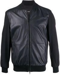 Emporio Armani Leather Short Jacket - Blue