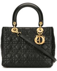 Dior Pre-owned Lady Dior Cannage Tote Bag - Black