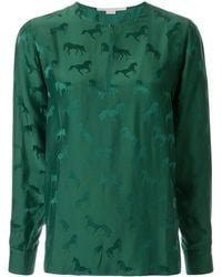 Stella McCartney Jacquard-Bluse mit Pferdemuster - Grün