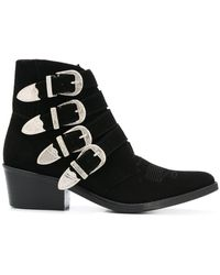 Toga Multi Buckle Suede and Leather Ankle Boots - Black