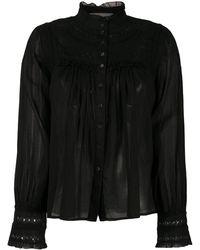 Ba&sh リーフエンブロイダリー シャツ - ブラック
