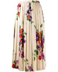 Junya Watanabe Pleated floral skirt - Multicolore