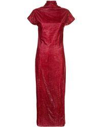 Paula Knorr Draped Velvet Dress - Red