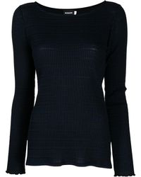 GOODIOUS ストライプパターン Tシャツ - ブルー