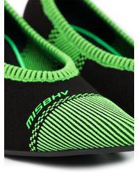 MISBHV Zapatos de tacón con diseño de calcetín a rayas - Negro