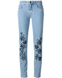 Victoria, Victoria Beckham 刺繍スリムジーンズ - ブルー