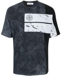 Stone Island Stonewashed-print Cotton T-shirt - Black