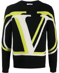 Valentino Intarsia Trui Met Vlogo - Zwart
