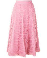 Gloria Coelho ドレープ フレアスカート - ピンク