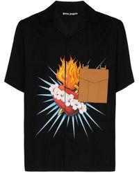Palm Angels Sacred Heart-print Shirt - Black