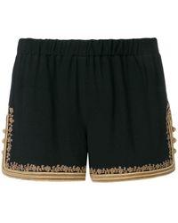 Saint Laurent Shorts con ricamo - Nero