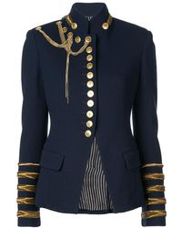 Oscar de la Renta Embroidered Military Jacket - Blue