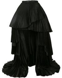 Isabel Sanchis Pleated Asymmetric Skirt - Black