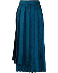 Fendi Karligraphy Motif Pleated Skirt - Blue