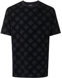 Giorgio Armani チェック Tシャツ - ブラック