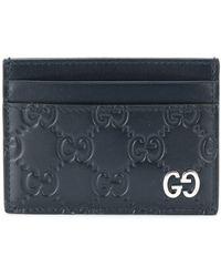 Gucci ダブルgロゴ カードケース - ブルー