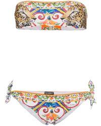 Dolce & Gabbana - Leopard Print Bandeau Bikini - Lyst