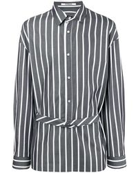 Chalayan Extended placket striped shirt - Gris
