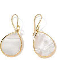 Ippolita 18kt Yellow Gold Small Polished Rock Candy Single Stone Teardrop Mother-of-pearl Earrings - Metallic