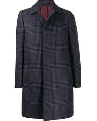 Dell'Oglio Herringbone Check Coat - Blue