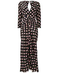 RIXO London Polka Dot Print Dress - Black