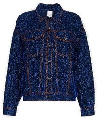 Ashish - Tinsel Embellished Denim Jacket - Lyst