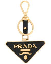 Prada Signature Logo Keyring - Black