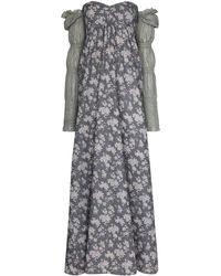 Masterpeace Floral-print Off-the-shoulder Maxi Dress - Blue