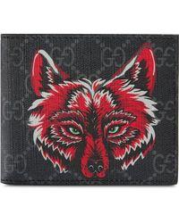 Gucci - GG Supreme Brieftasche mit Wolf - Lyst