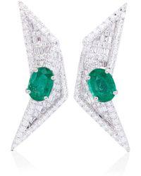 Kavant & Sharart Orecchini in oro bianco 18kt con diamanti e smeraldo - Metallizzato