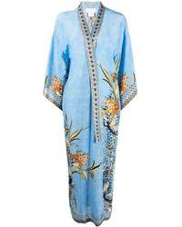 Camilla Floral Embroidered Silk Cardi-coat - Blue