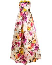 Philipp Plein Vestido de fiesta palabra de honor con estampado floral - Blanco