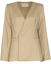 St. Agni Gala Collarless Double-breasted Blazer - Natural