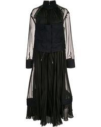 Sacai シフォン ドレス - ブラック