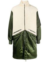 Givenchy Oversized Shearling Panel Coat - Green