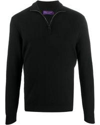 Ralph Lauren Purple Label ジップアップ リブセーター - ブラック