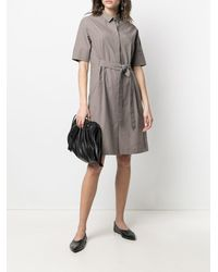 Fabiana Filippi Платье-рубашка С Короткими Рукавами - Коричневый