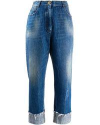 Balmain Wide-leg Cropped Jeans - Blue