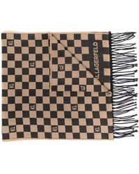 Karl Lagerfeld Kl チェック フリンジスカーフ - ブラウン