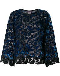 Talbot Runhof Floral Velvet Tapestry Top - Синий