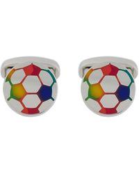 Paul Smith Gemelos esmaltados con motivo de fútbol multicolor - Metálico