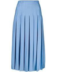 Victoria Beckham Jupe mi-longue plissée - Bleu