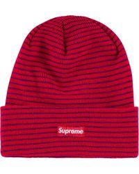 Supreme Gestreifte Mütze - Rot