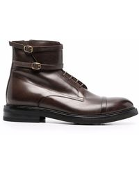 Malone Souliers George Leather Combat Boots - Brown