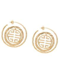 Givenchy - Gold Tone Seal Circle Logo Earrings - Lyst