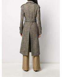 Victoria Beckham Tie-waist Tweed Tench Coat - Black