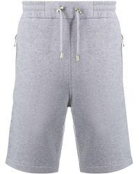 Balmain Logo Embossed Bermuda Shorts - Grey