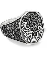 David Yurman Waves Diamond Signet Ring - Metallic